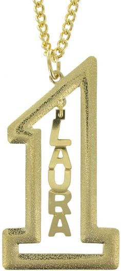 Name Pendant Necklace Gold Tone Women Jewelry by KensieKitsch, $6.95