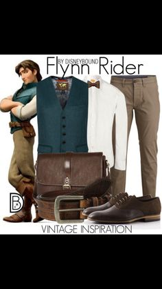 Disney Bound: Flynn Rider from Disney's Tangled (Vintage Inspiration Outfit) Disney Princess Outfits, Disney Dress Up, Disney Bound Outfits, Disney Prom, Disney Costumes For Men, Disney Men, Disney Ideas, Dapper Day Disneyland, Disney Dapper Day