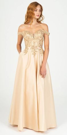 Eureka Fashion 9027 Champagne Off-Shoulder Long Prom Dress with Pockets – DiscountDressShop Metallic Wedding Dresses, Champagne Formal Dresses, Champagne Dress, Cheap Champagne, Tulle Gown, Beaded Gown, Chiffon Gown, Mermaid Gown Prom, Prom Dresses With Pockets