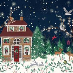 All is calm, all is bright. Christmas Town, Merry Little Christmas, Christmas Art, Winter Christmas, Cottage Art, New Years Decorations, Christmas Embroidery, Christmas Illustration, Illustrations