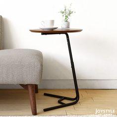ウォールナット突板とブラックスチールを組み合わせたレトロなデザインの2WAYテーブル2段階の高さ調節が出来るサイドテーブル花台としても使用可能GENERAL-2WT