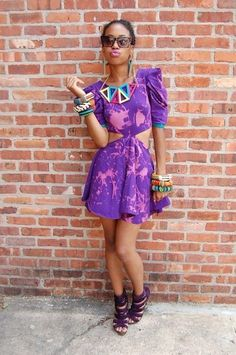 purple with some very chunky jewelry