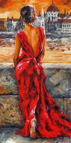 Lady In Red 34 - I Love Budapest by Emerico Imre Toth - Lady In Red 34 - I Love Budapest Painting - Lady In Red 34 - I Love Budapest Fine Art Prints and Posters for Sale Illustration Art, Illustrations, Fine Art, Beautiful Paintings, Deep Paintings, Female Art, Painting & Drawing, Figure Painting, Diy Painting