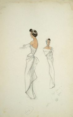 Edith Head costume sketch for Ruth Hussey in Mr. Music (1950)