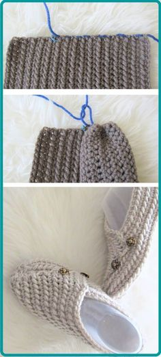 Try this easy crochet slipper free pattern for beginners. This house shoe for a woman is made from a simple rectangle. The crochet tutorial also includes a step by step video. Easy Crochet Slippers, Crochet Boots, Knit Or Crochet, Men's Slippers, Crochet Bolero Pattern, Crochet Slipper Pattern, Crochet Gratis, Free Crochet, Knitting Patterns