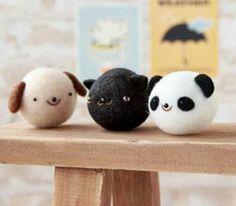 Needle felted animal balls. So. Many. Options!!!! I love this.