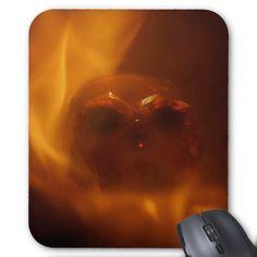 Flaming Orange Translusent Skull Mouse Pads