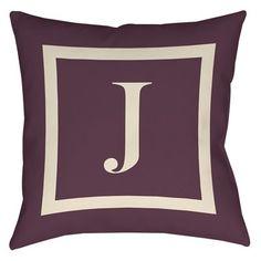 "Red Barrel Studio Lansdowne Printed Throw Pillow Size: 26"" H x 26"" W x 7"" D, Color: Eggplant, Letter: J"