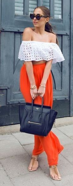 #summer #trending #outfitideas | White Eyelet Crop + Red Pants