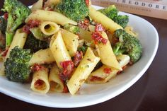 Vegan Sun-dried Tomato and Broccoli Penne Pasta Recipe. Well I'm not vegan, but it was a good way to make sure it was dairy free. I sauteed some chicken and doubled the recipe for 4 people with a little leftover. Good with parmesan cheese and additional sun-dried tomatoes.