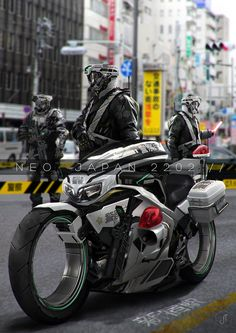 """Beware the PayCops CSWAT Division, they get all the best toys to test in Arima CIty Undertown! (src: """"Neo Japan 2202"""" du concept artist Johnson Ting)"""