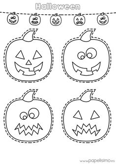 es wp-content uploads 2015 10 Dibujo-calabazas-colorear-y-recortar-Halloween. Theme Halloween, Halloween Door Decorations, Halloween Crafts For Kids, Halloween Activities, Halloween Projects, Holidays Halloween, Halloween Pumpkins, Halloween Prints, Halloween Infantil