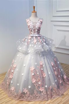 Grey tulle 3D flower long A-line evening dress, lace appliques senior prom dresses