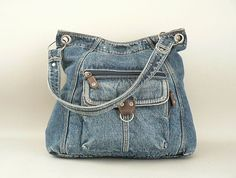 Vintage Large Denim Shoulder Bag Blue Jean Purse por LongSince