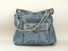 Vintage Large Denim Shoulder Bag Blue Jean Purse por LongSince