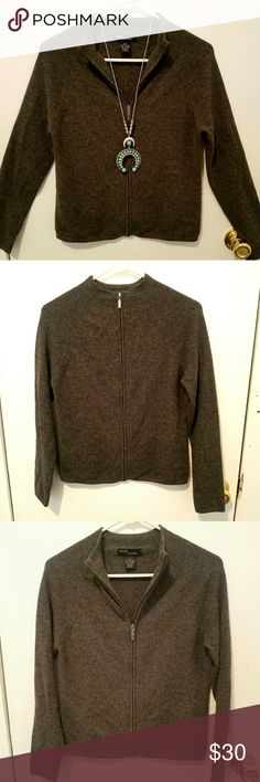 100% Cashmere Sweater Small Petite Gently used grey cashmere full-zip sweater size small petite. Sweater is in great shape with minimal signs of wear, lots of life left. From a smoke-free home. Grace Cashmere Sweaters
