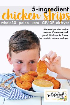 This popular Paleo, Keto, gluten-free, dairy-free recipe can be made in your airfryer or oven and is very kid-friendly. Probably the easiest chicken strips you will ever make and freeze great! Paleo Whole 30, Whole 30 Recipes, Meal Time Schedule, Dairy Free Recipes, Gluten Free, Keto Recipes, Chicken Strips, Healthy Family Meals, Most Popular Recipes