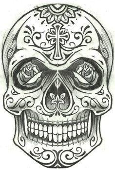 1 Mexican Skull Tattoos, Skull Rose Tattoos, Mexican Skulls, Body Art Tattoos, Sleeve Tattoos, Skull Tattoo Design, Skull Design, Tattoo Designs, Tattoo Sketches