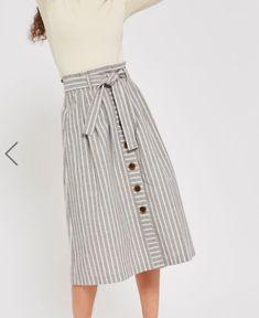 Topshop Linen Striped Midi Skirt