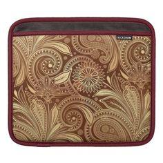 Shop Paisley Royal iPad Sleeve created by grandjatte. Tooled Leather, Leather Tooling, Ipad Sleeve, Ipad Air 2, Apple Ipad, Slipcovers, Paisley, Zip Around Wallet, Plush