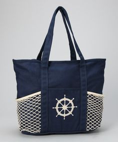 This Navy & Cream Net Tote is perfect! #zulilyfinds