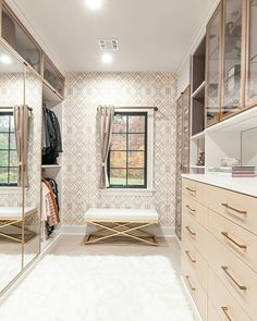 After building her dream home, @calclosetsbyshellie of @calclosetsnj's client knew she wanted spectacular a custom closet to organize and display her beautiful wardrobe. With her client's vision in mind, Shellie created a walk-in solution that makes a stunning statement! #customclosets  To see more of this gorgeous space, be sure to visit @calclosetsnj Photographer: @chastitycophotos Master Closet Design, Walk In Closet Design, Closet Designs, Girls Dressing Room, Dressing Room Design, Home Buying Checklist, No Closet Solutions, Closet Layout, California Closets