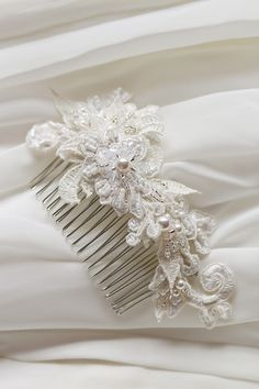 Bridal lace comb...beautiful inspiration for using lace from mom's dress or veil.  Something very special. by Percy handmade.