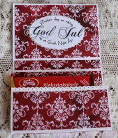 Karins-kortemakeri: sjokoladekort Chocolate Card, Diy And Crafts, Paper Crafts, Money Envelopes, Cardmaking, Christmas Crafts, Scrapbooking, Making Cards, Hobby