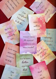 ETSY ~ Birth Affirmations - Set of 24 printable cards - DIGITAL DOWNLOAD $11.00