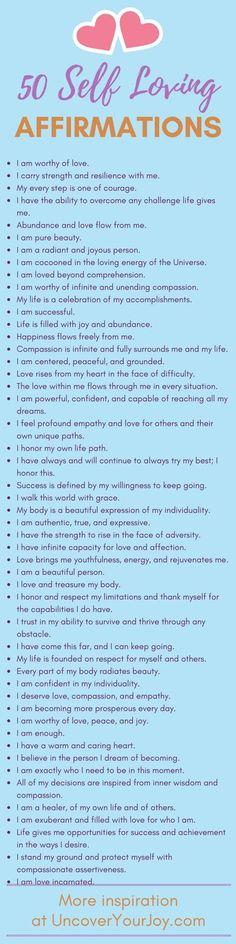 Self-Loving Affirmations 50 affirmations for self-love. Inspiring resources, quotes, and more for happiness and joy at 50 affirmations for self-love. Inspiring resources, quotes, and more for happiness and joy at The Words, Positive Thoughts, Positive Quotes, Negative Thoughts, Positive Mindset, Daily Affirmations, Positive Affirmations For Anxiety, Motivational Affirmations, Affirmations For Women
