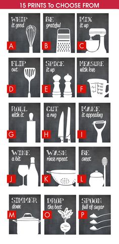 Funny Kitchen Art Print Set (Mixer, Rolling Pin, Whisk And Measuring Cup)  Set Of 4   Art Prints (Featured On Blackboard)