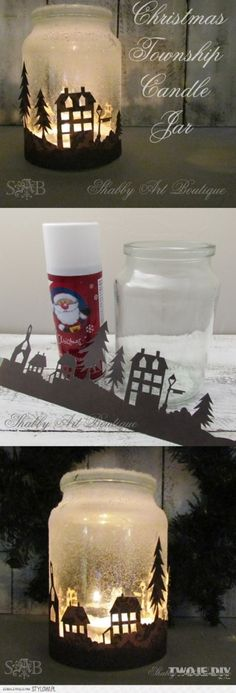 photophore noel & papier decors Quick and easy candle jar that will look amazing when illuminated at night. Noel Christmas, Christmas Projects, All Things Christmas, Winter Christmas, Handmade Christmas, Holiday Crafts, Holiday Fun, Christmas Ornaments, Christmas Candle