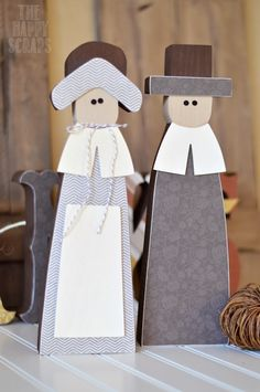 DIY Wooden Pilgrims and Matching Wooden Letters