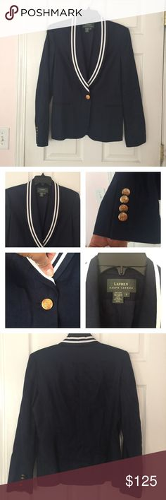 Ladies Lauren Ralph Lauren fitted linen jacket Ladies Navy Lauren Ralph Lauren fitted fully lined  linen jacket. I can wear this but I can't button anymore. It's in Great condition ...gently used and clean, buttons are somewhat tarnished other than that this jacket is BOMB!! 24 1/2 L from shoulder to hem. Pls all all questions prior to purchase. Lauren Ralph Lauren Jackets & Coats Blazers