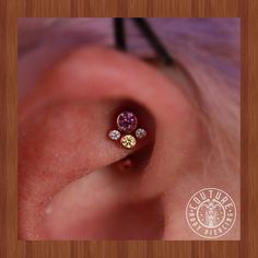 Healed rook upgraded to this fancy ass cluster from (at Couture Tattoo & Body. Unusual Piercings, Different Ear Piercings, Cool Piercings, Piercing Ideas, Cartilage Piercing Hoop, Body Piercing, Rook Jewelry, Body Mods, Body Art