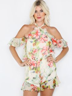 "This Backless cold shoulder high neck floral jumpsuit has summer printed all over it, literally! Jumpsuit features inside body lining, a elegant high neck with hook closure, backless for a fun and sexy look and a lightweight fabric. Jumpsuit measures 27.6"" from top to bottom hem. #floral #romper #MakeMeChic #MMC #style #fashion #newarrivals #summer16"