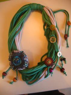 Knits n buttons Yarn Necklace, Fabric Necklace, Scarf Jewelry, Textile Jewelry, Fabric Jewelry, Leather Jewelry, Diy Jewelry, Crochet Necklace, Handmade Jewelry