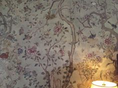 Chinese wallpaper detail from Ightham Mote, Kent