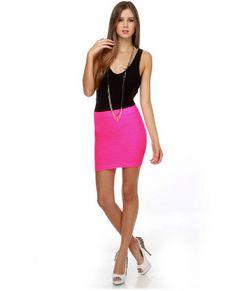 Name in Lights Neon Pink Skirt, 80s look...