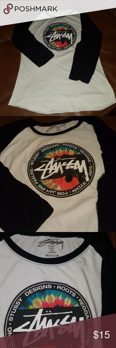 STUSSY TEE Authentic STUSSY long sleeve ROOTS REGGAE SURF shirt.  Ladies fit/curvy tee. Excellent condition. Stussy Tops Tees - Long Sleeve