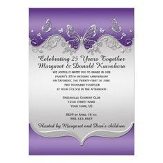 purple silver ornate butterflies 25th anniversary card