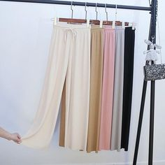 【Mother's Day Promotion-50% OFF】Ice Silk Wide Leg Pants Women – buymorex Ankle Length Pants, Wide Leg Pants, Adele, Slim Stomach, Most Comfortable Jeans, Silk Pants, Slim Legs, Innovation Design, Fitness Fashion