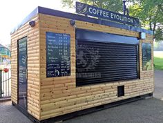 We recently built a custom cladded ice cream catering container for a park in Welshpool. Contact Lion Containers today or read our case study for further information. Container Bar, Container Coffee Shop, Container House Design, Shipping Container Restaurant, Shipping Container Home Designs, Cafe Shop Design, Kiosk Design, Drive Thru Coffee, Mobile Restaurant