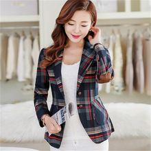 Nova moda mulheres Blazers Slim Fit curto ternos casacos xadrez Plus Size Blaser Chaquetas Mujer outono Outwear Jaqueta Feminina(China (Mainland))