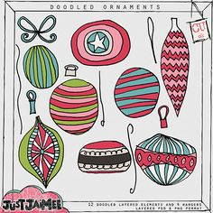 doodled ornaments by Just Jaimee This would be fun for making Christmas cards!!!
