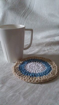 Here's the Coastal Coaster (working title, but may end up being the actual name) and a cup for size reference!  An update will land when the set does! :D  The Coastal Dining Settings Set is now available for puchase! See the main shop board and online store for more information. My Works, Coasters, Etsy Shop, Blanket, Dining, Store, Crochet, Board, Projects