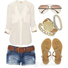 Perfect outfit for the boardwalk, sheer white blouse, sparkly jewelry, jean shorts, flat sandals, and pretty sunglasses. For MORE summer ideas FOLLOW http://www.pinterest.com/happygolicky/summer-style-jewelry-clothing-swimsuits-accessorie/