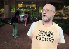 Paul Valette, a 64-year-old Army veteran, spends his Saturday mornings guiding patients safely through crowds of protestors into Planned Parenthood. Valette is part of the Washington Area Clinic Defense Task Force, an all-volunteer group promoting peaceful access to women's health clinics. And we thank him for supporting women.