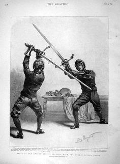 Fencers sparing with Lansknecht two handed swords