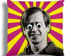 Steve Buscemi, googly eyed embellished pillow cover. by GoogliePop / Kymm! Bang